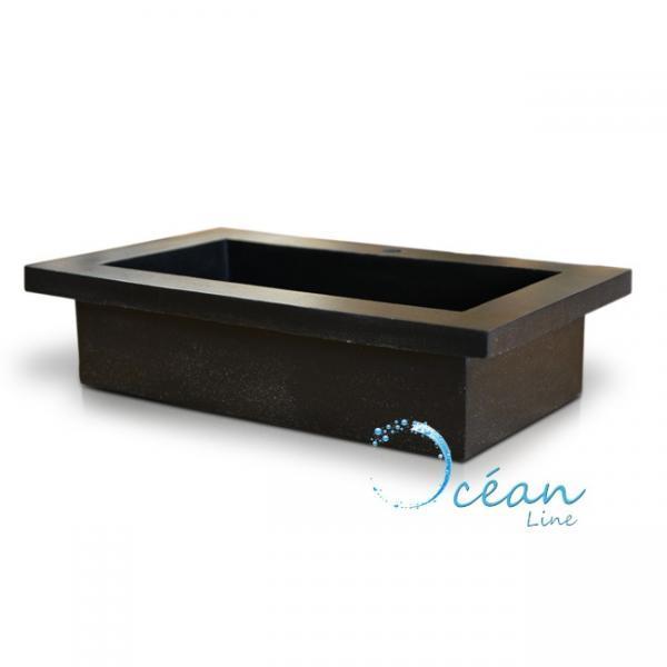 vasque poser ou encastrer rectangulaire xxl en terrazzo noire ocean line. Black Bedroom Furniture Sets. Home Design Ideas