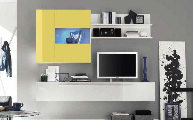 composition murale tv design primera 2 blanc et jaune. Black Bedroom Furniture Sets. Home Design Ideas