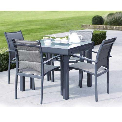 ensemble table et chaises de jardin modulo 4 places gris comparer les prix de ensemble table et. Black Bedroom Furniture Sets. Home Design Ideas