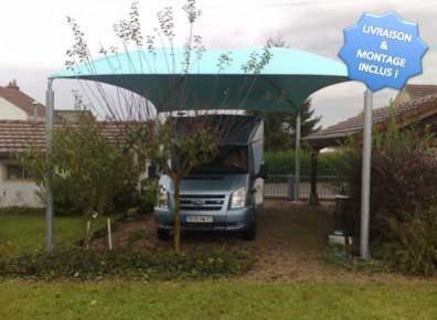 Abri camping-car ouvert métallique toile / structure en acier / toiture arrondie en toile