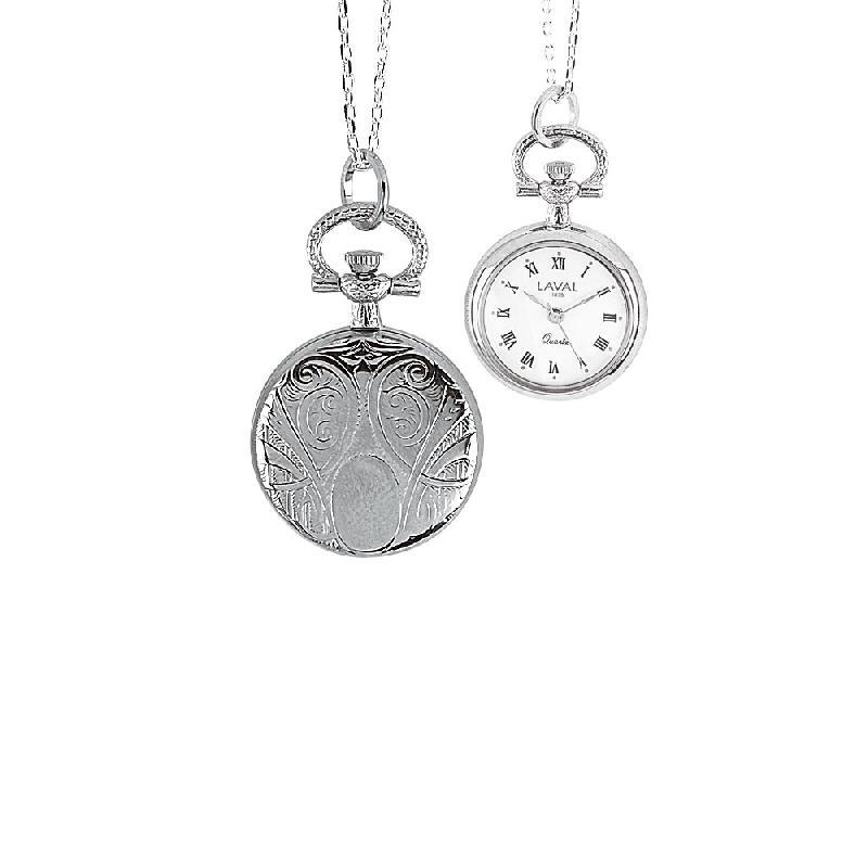 Montre pendentif motif médaillon pour femme avec chiffres romains 3 aiguilles