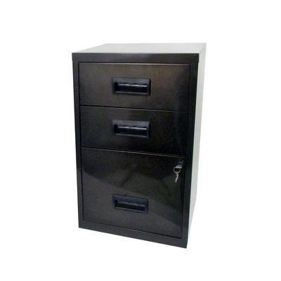 meuble a 3 tiroirs en metal vernis noir phsa 095034. Black Bedroom Furniture Sets. Home Design Ideas
