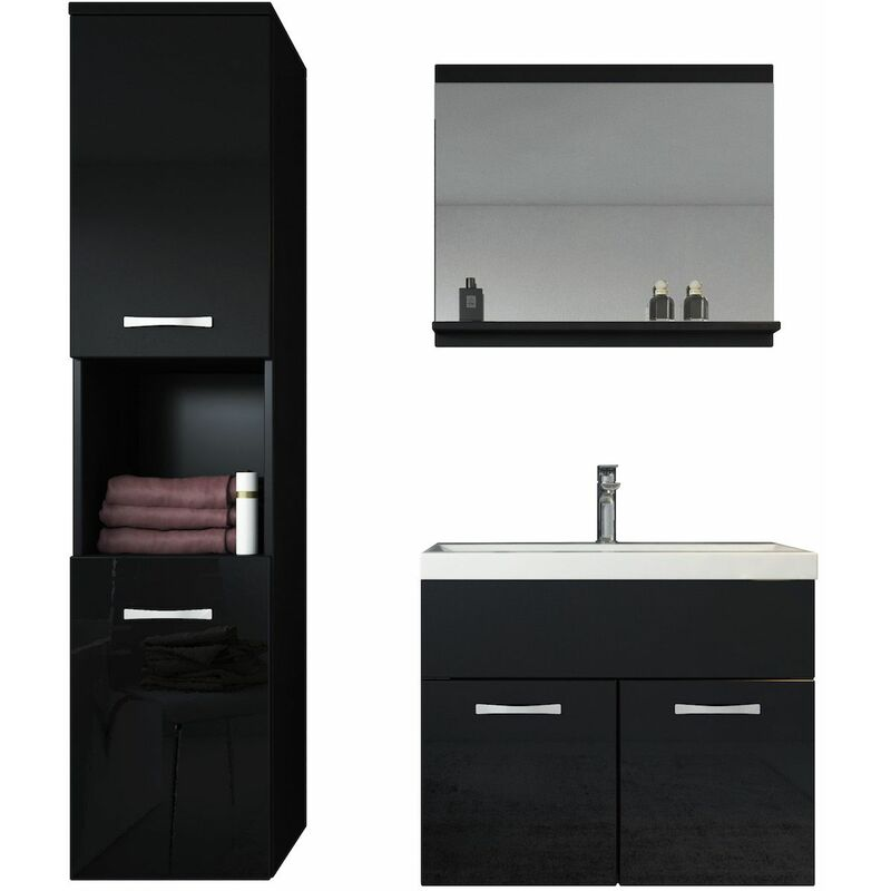 meuble de salle de bain montra al 60 cm lavabo noir brillant armoire de rangement meuble. Black Bedroom Furniture Sets. Home Design Ideas