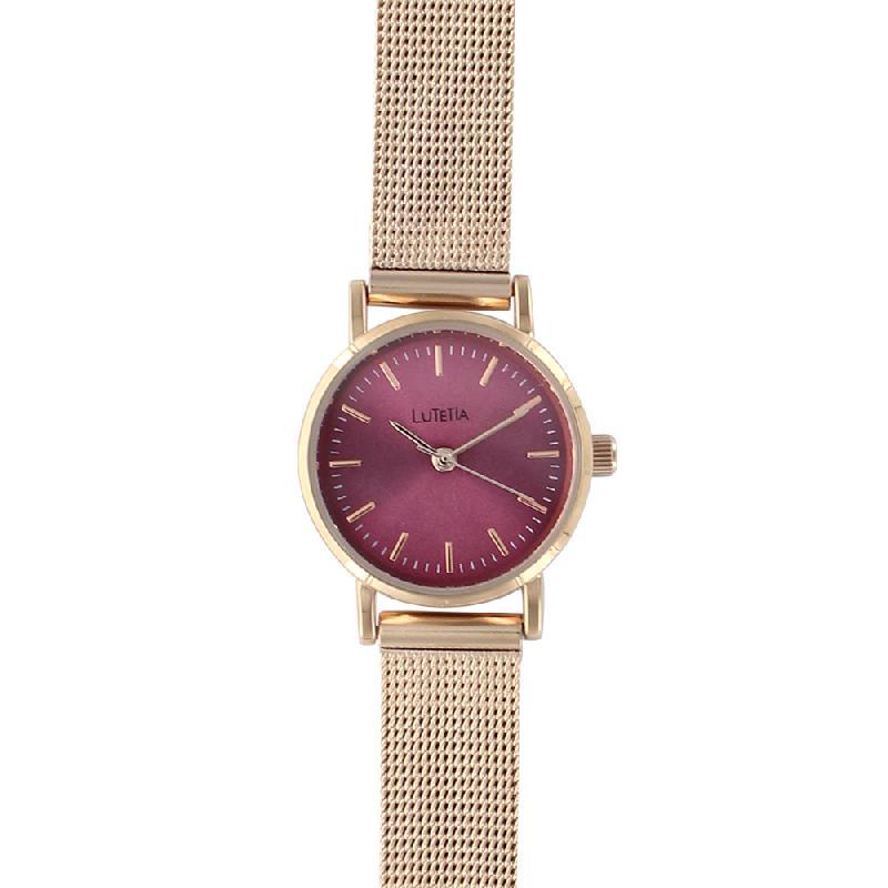 Montre lutetia à bracelet milanais acier doré rose et cadran couleur bordeaux