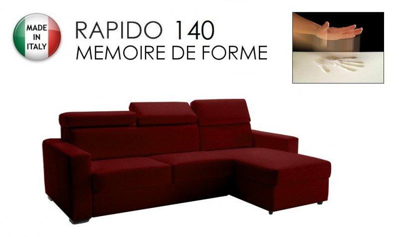 canape d 39 angle rapido sidney deluxe memory matelas 140 14 190 cm memoire de forme cuir vachette. Black Bedroom Furniture Sets. Home Design Ideas
