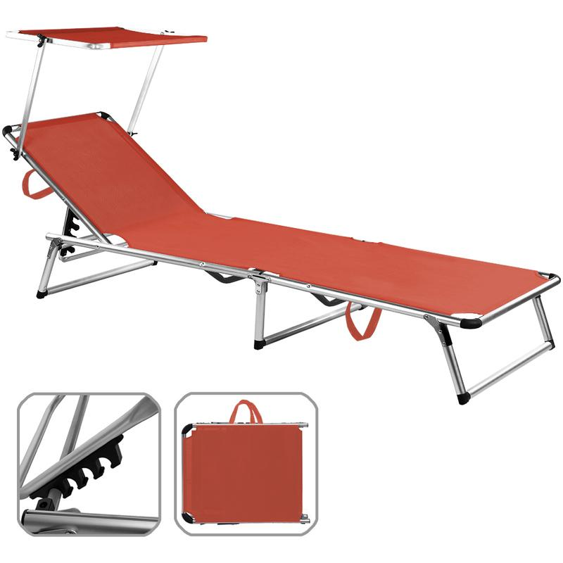 chaise longue de jardin en aluminium avec parasol r glable rouge transat relax deuba. Black Bedroom Furniture Sets. Home Design Ideas