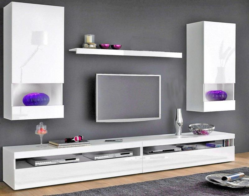 composition murale tv 5 pieces burrata laque blanche. Black Bedroom Furniture Sets. Home Design Ideas