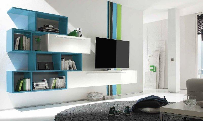 MEUBLE TV DESIGN PRIMERA SHELF BLANC BRILLANT ET BLEU