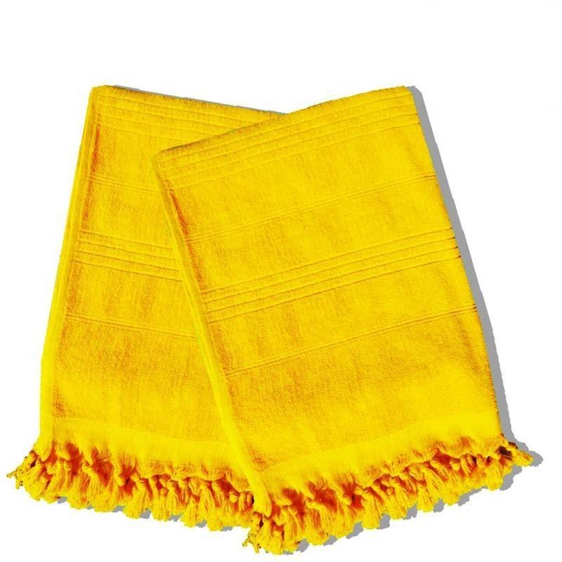 Serviette de hammam 90x160cm jaune - paris prix