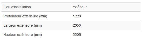 Abri fumeur / structure en bois / banquette / cendrier / 2.35 x 1.22 m