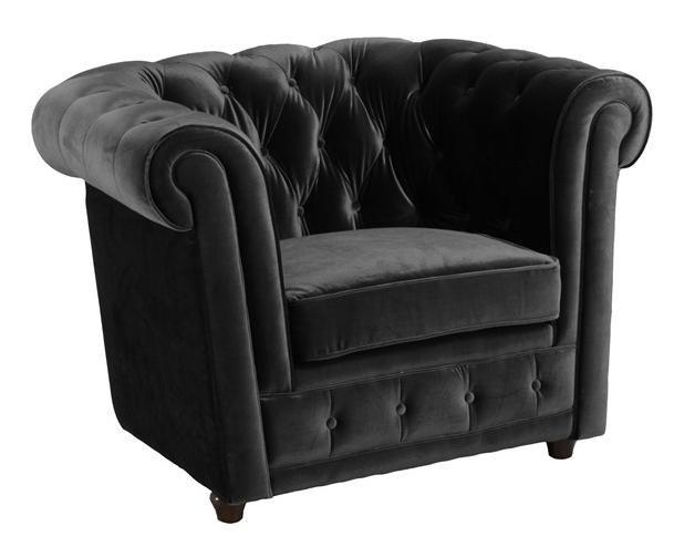 fauteuil chesterfield deluxe en velours noir capitonne. Black Bedroom Furniture Sets. Home Design Ideas