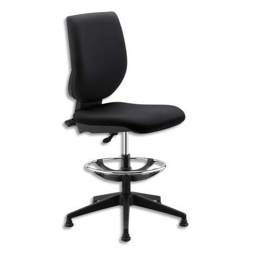 Siège technique haut tertio assis-debout en tissu noir, à contact permanent, giratoire sur patins