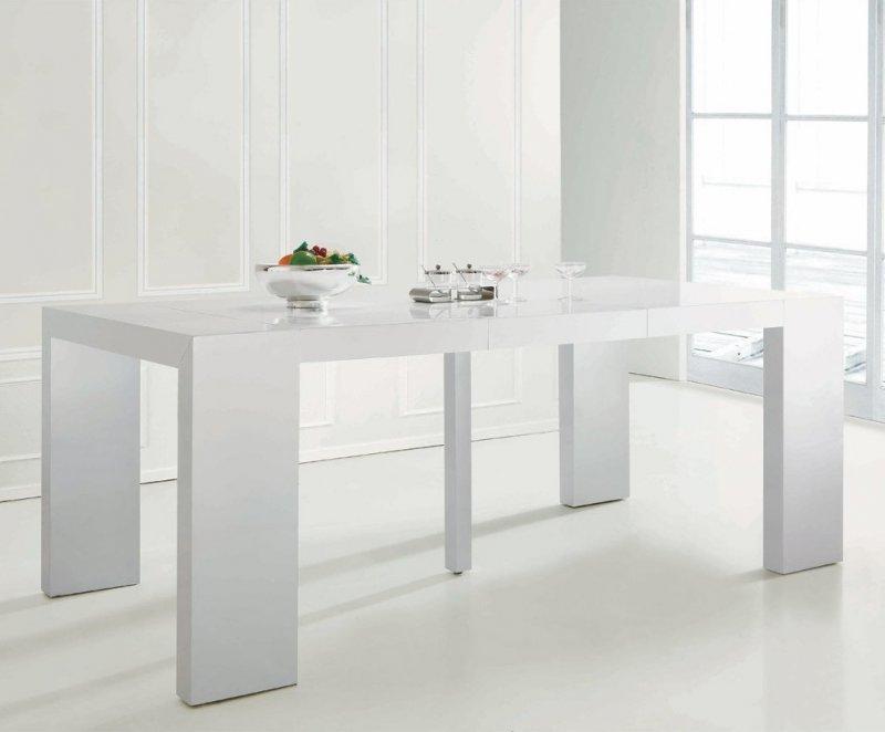 Console Extensible Illusion Laque Blanc Brillant