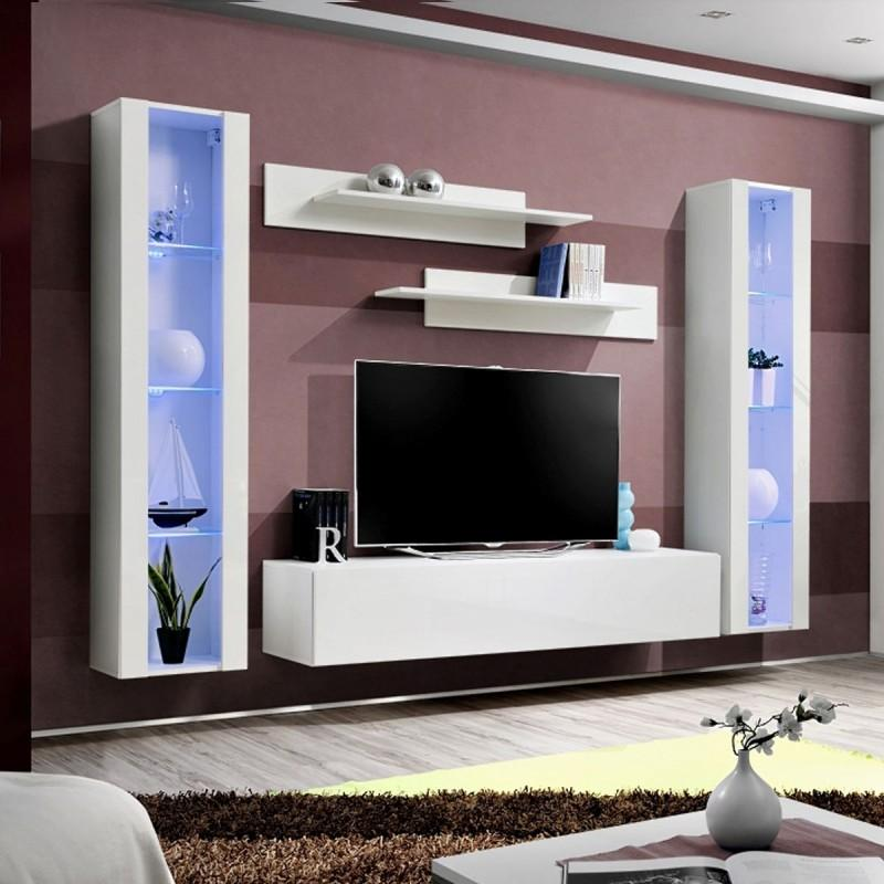 MEUBLE TV MURAL DESIGN FLY II 260CM BLANC - PARIS PRIX