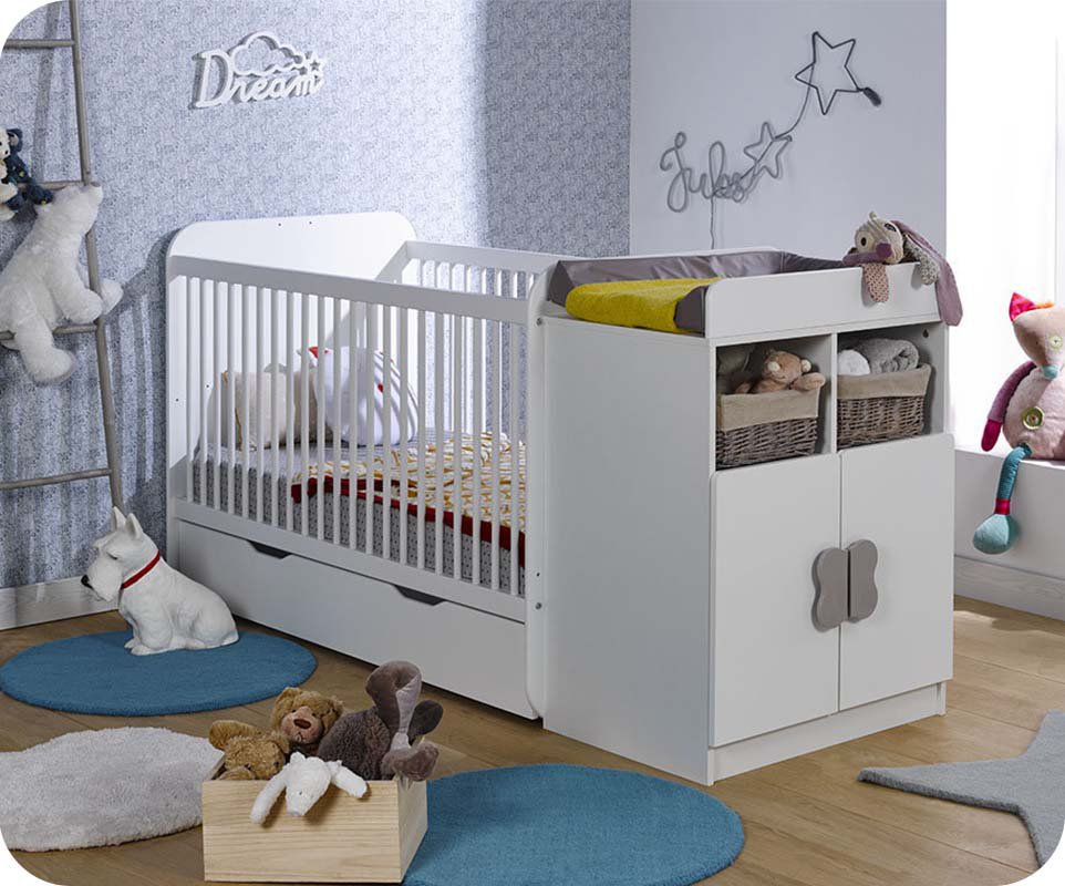 berceau evolutif holly blanc avec matelas bebe. Black Bedroom Furniture Sets. Home Design Ideas