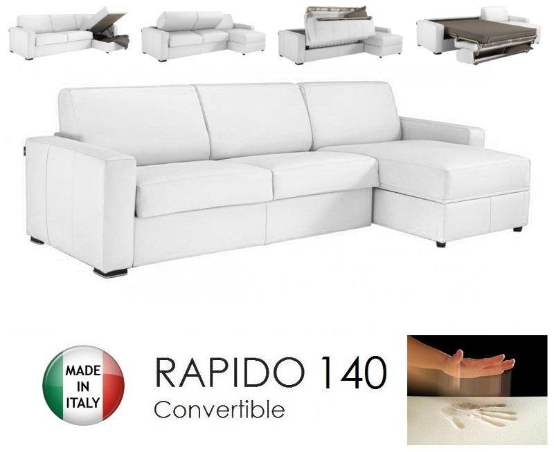 canape d 39 angle dreamer rapido 140cm cuir eco vachette blanc matelas memoire de forme. Black Bedroom Furniture Sets. Home Design Ideas