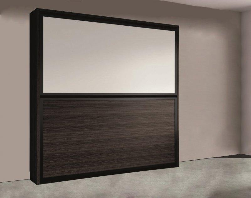 armoire lit superposee escamotable transversale avec matelas wenge et blanc 2 couchage 90 22. Black Bedroom Furniture Sets. Home Design Ideas