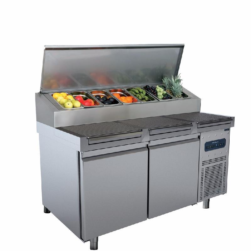 Table de préparation réfrigérée 2 portes 46x66 et plan avec racks, 9x gn 1/3 h=150 mm - ccz0090