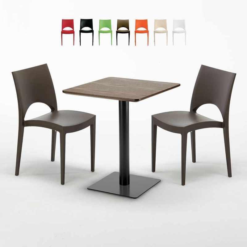 TABLE CARRÉE 60X60 PIED NOIR ET PLATEAU BOIS AVEC 2 CHAISES COLORÉES PARIS KISS | MARRON