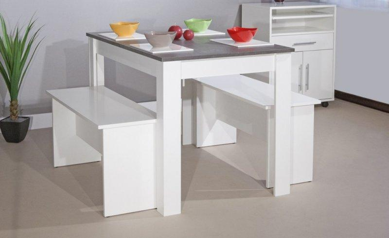 atoll table repas enfants blanc et beton ou 2 places adultes avec bancs. Black Bedroom Furniture Sets. Home Design Ideas
