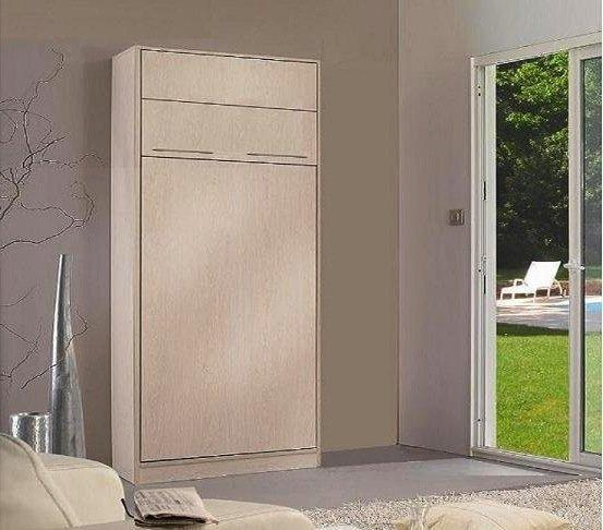 armoire lit escamotable 1 place jacquelin avec eclairage matelas 90 20 190 cm belle. Black Bedroom Furniture Sets. Home Design Ideas