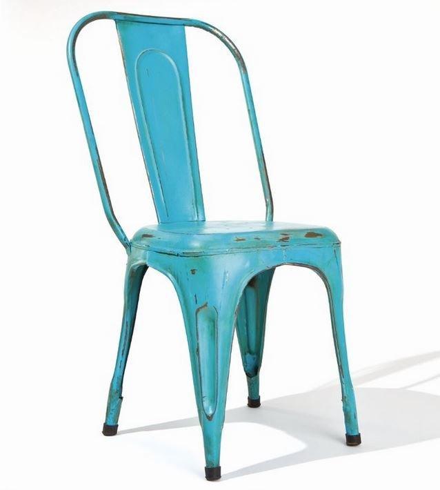 Lot De 4 Chaises Design Aix Turkis En Acier Bleu Turquoise