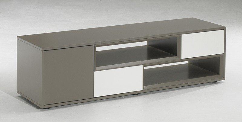 meuble tv design sigma taupe blanc avec 2 niches 2 tiroirs 1 porte comparer les prix de meuble. Black Bedroom Furniture Sets. Home Design Ideas