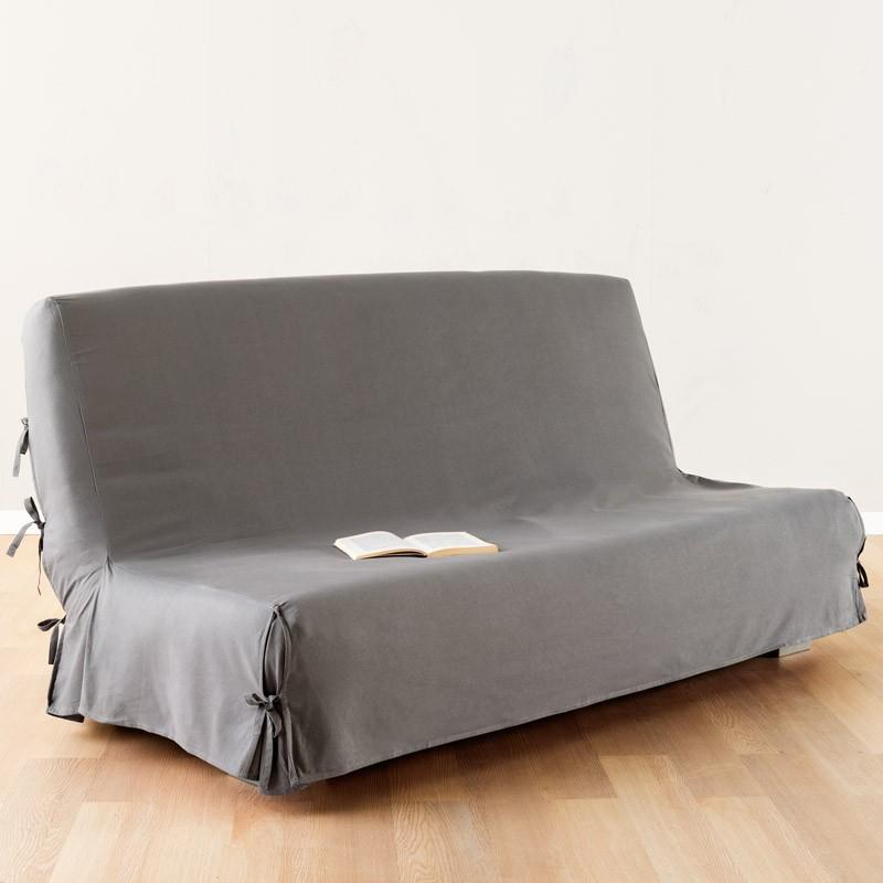 Housse de clic-clac tissu 140x200cm gris clair - paris prix