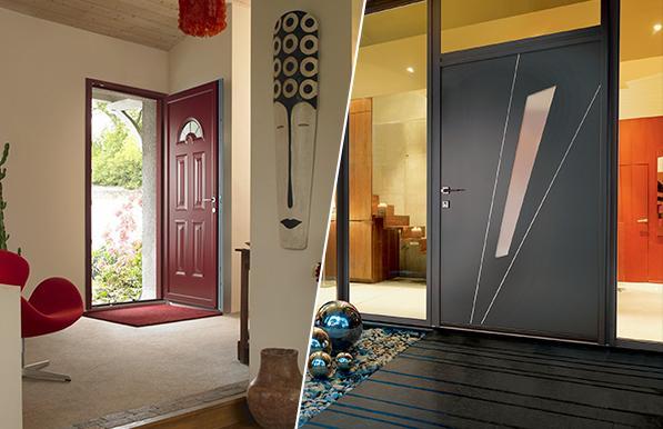 Portes battantes d 39 entree aluminium for Porte entree alu contemporaine