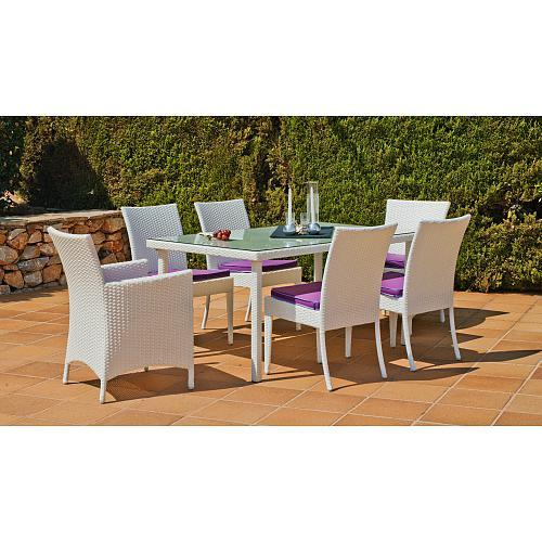 table de jardin villalba 150 1 table 4 chaises 2 fauteuils et coussins indoor outdoor. Black Bedroom Furniture Sets. Home Design Ideas