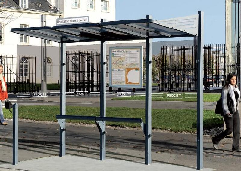 Abri bus en métal station-bus