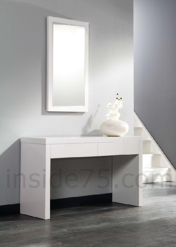 console design laquee blanc brillant 2 tiroirs. Black Bedroom Furniture Sets. Home Design Ideas
