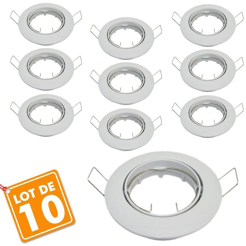 LOT DE 10 SUPPORTS DE SPOT BBC D88 AVEC DOUILLE GU10 AUTOMATIQUE ... c1f1de74b09d