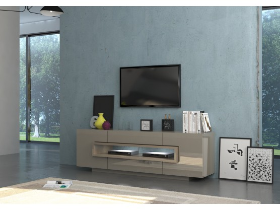 meuble tv design high gloss taupe bois chene clair target 180 cm. Black Bedroom Furniture Sets. Home Design Ideas