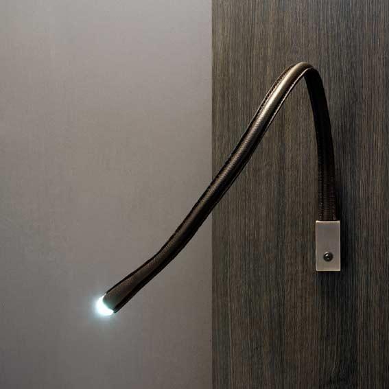 flexiled applique liseuse flexible cuir chocolat nickel avec interrupteur l60cm applique. Black Bedroom Furniture Sets. Home Design Ideas