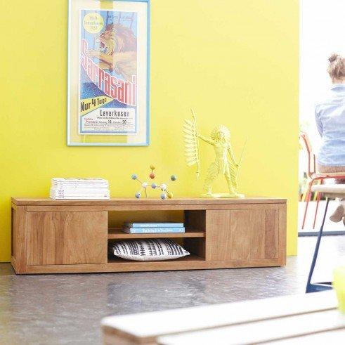 meuble tv en teck 140 basil. Black Bedroom Furniture Sets. Home Design Ideas