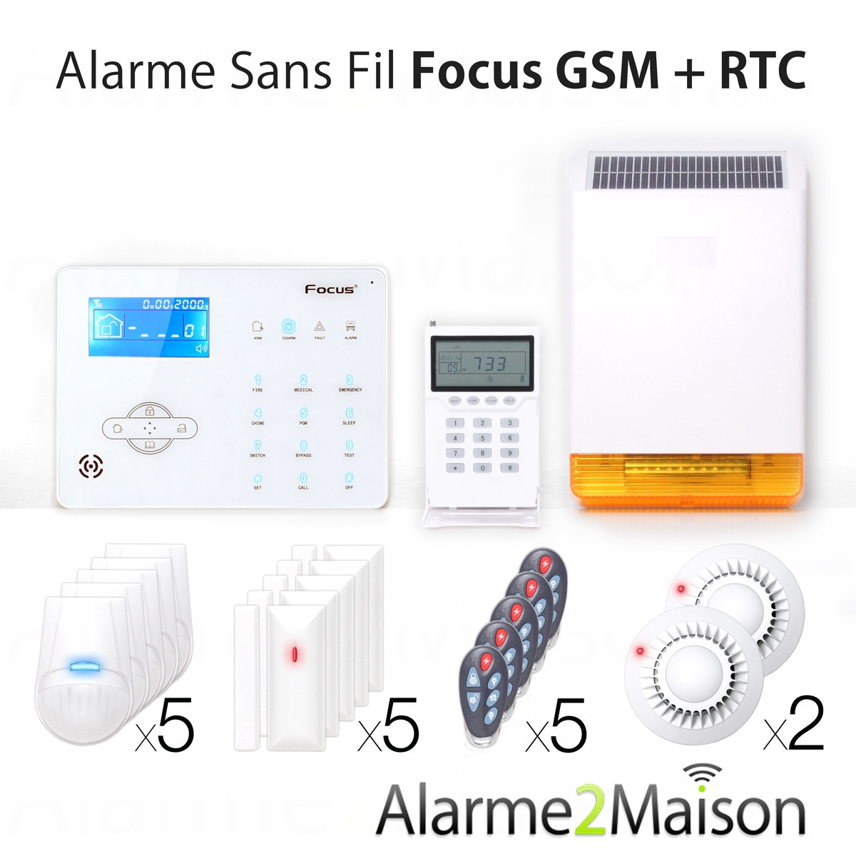 Alarme maison sans fil focus gsm rtc 7 pi ces et for Alarme de maison sans fil