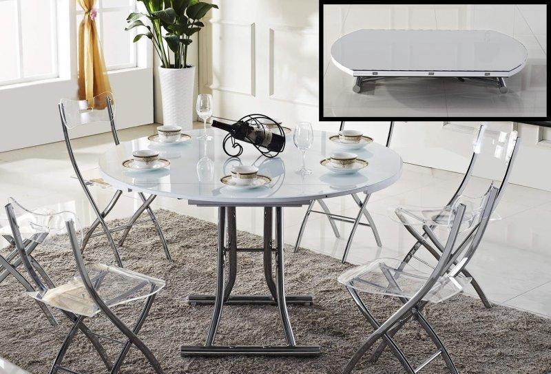 Table basse ronde relevable et extensible planet blanche Table basse ronde relevable