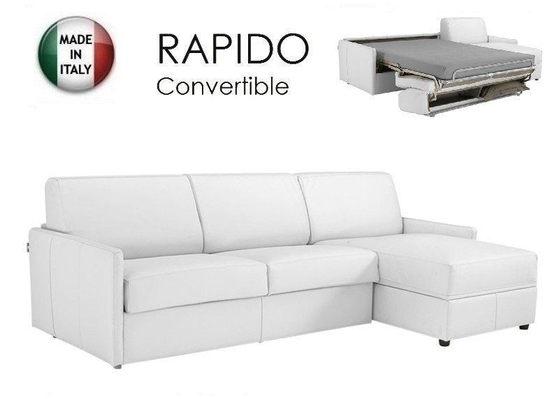canape d 39 angle sun convertible ouverture rapido 160cm cuir vachette blanc. Black Bedroom Furniture Sets. Home Design Ideas