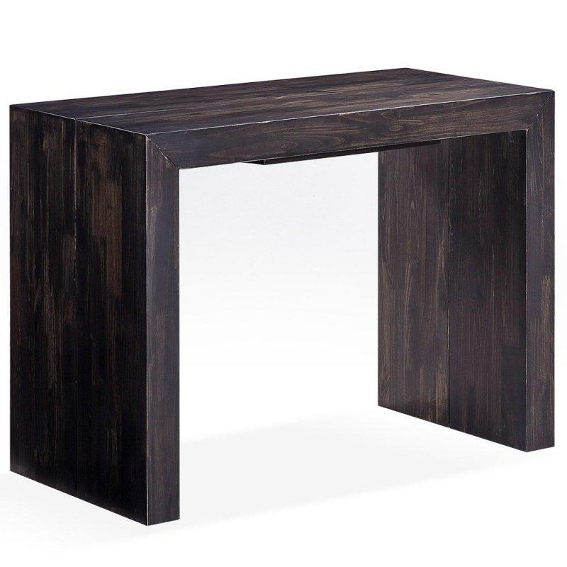 console extensible sublimo brun moka 10 couverts bois massif. Black Bedroom Furniture Sets. Home Design Ideas