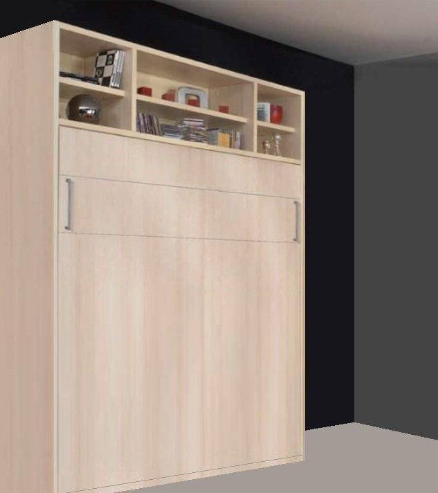 armoire lit escamotable transversale avec etageres campus jacquelin 140cm. Black Bedroom Furniture Sets. Home Design Ideas