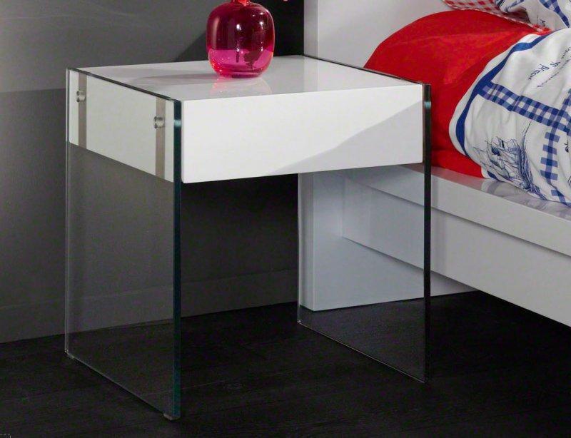 Quartz table basse laquee blanc brillant et verre avec tiroir