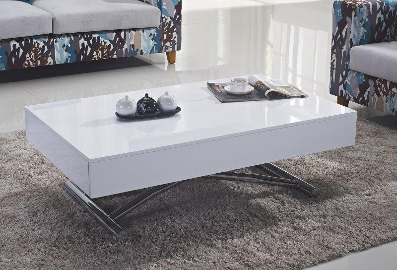 Table basse relevable cube blanche brillante extensible for Table extensible 6 a 12 couverts
