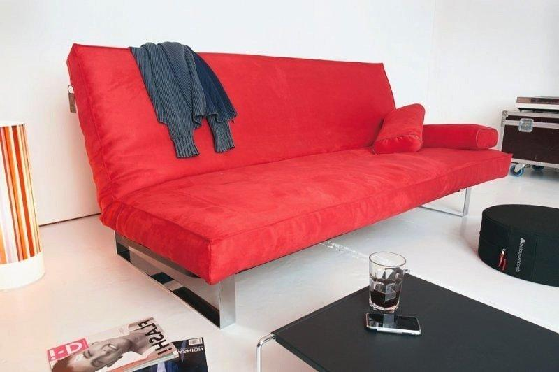 Canape lit design minimum rouge convertible innovation clic clac 200 140 - Canape clic clac rouge ...