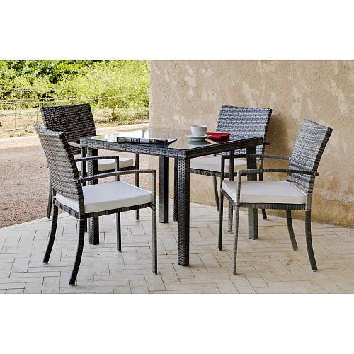 table de jardin maracaibo 90 cm et 4 fauteuils avec coussins cru indoor outdoor comparer les. Black Bedroom Furniture Sets. Home Design Ideas