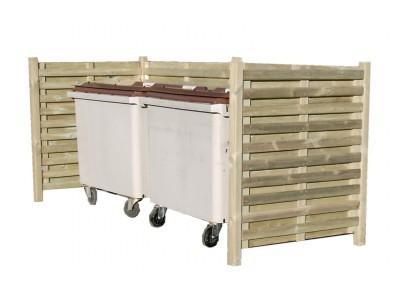 Cache conteneur double en bois - Fabriquer cache poubelle bois ...
