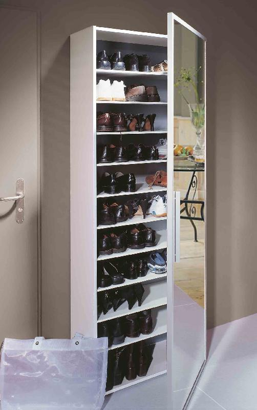 functio armoire a chaussures avec miroir large blanc. Black Bedroom Furniture Sets. Home Design Ideas