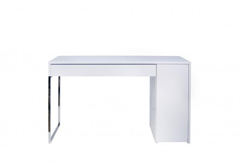 temahome prado bureau blanc avec pietement acier chrome. Black Bedroom Furniture Sets. Home Design Ideas