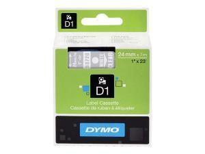 DYMO D1 S0721000 : CASSETTE RUBAN TITREUSE BLANC/TRANSPARENT 53720 - 24 MM X 7 M
