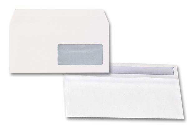 Enveloppes autocollantes blanches 110x220mm avec fen tre for Enveloppe avec fenetre